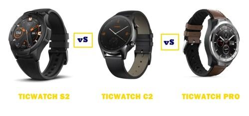 ticwatch s2 vs c2 vs pro compared
