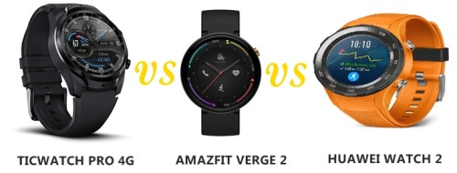 amazfit verge 2 vs ticwatch pro 4g vs huawei watch 2