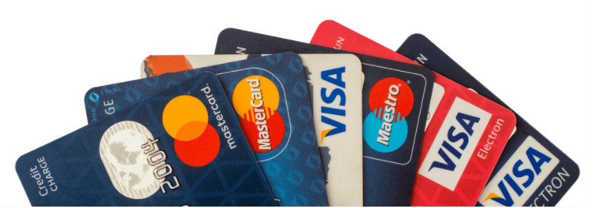 Credit cards from mastercard, visa and maestro fanned out