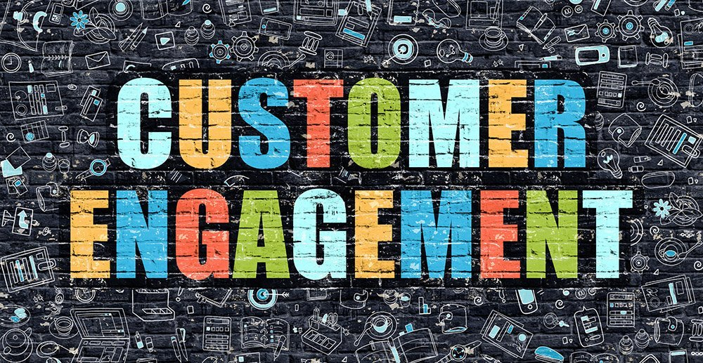Customer Engagement Concept. Modern Illustration. Multicolor Customer Engagement Drawn on Dark Brick Wall. Doodle Icons. customer engagement levels