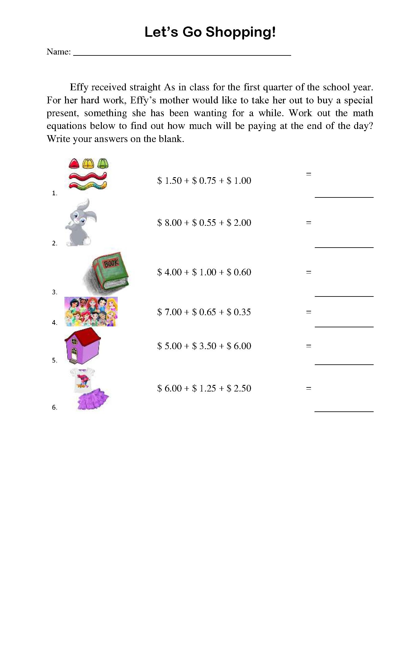 Lets Go Shopping Worksheet