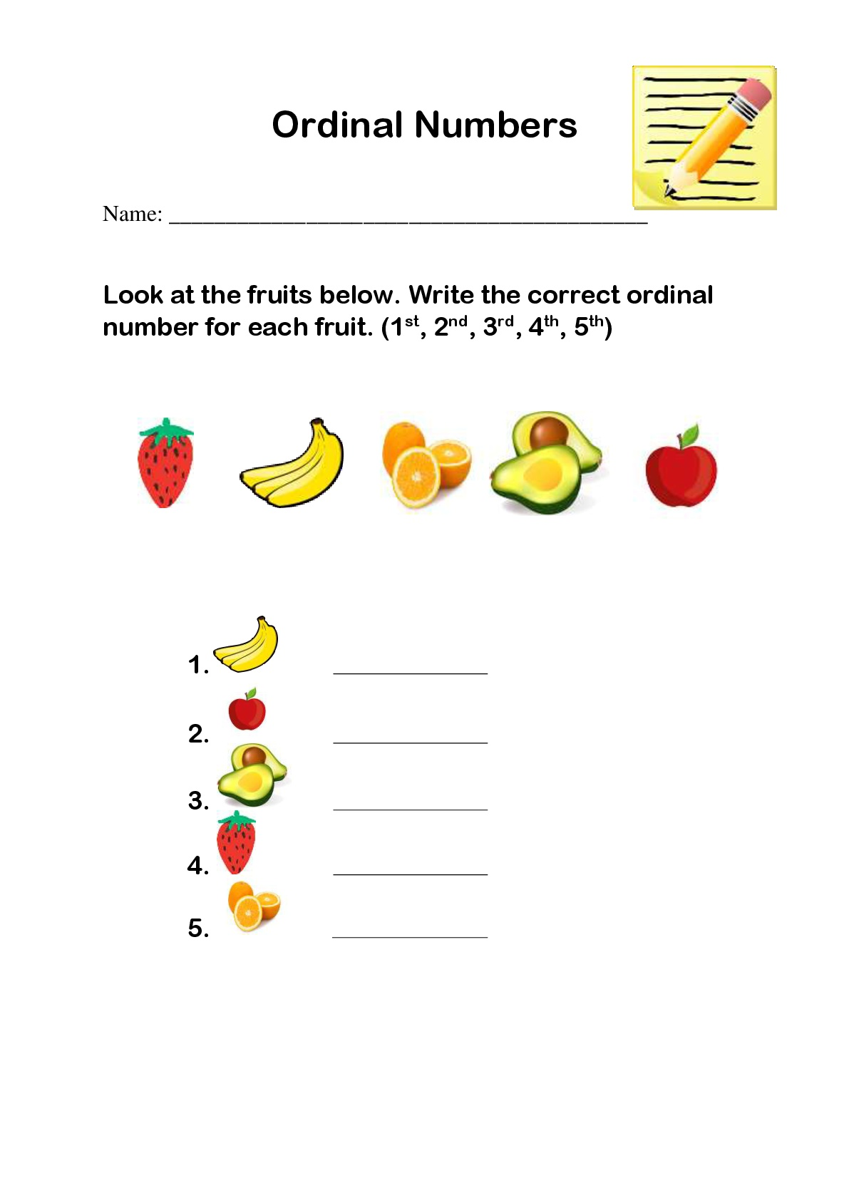 Sequencing Ordinal Numbers