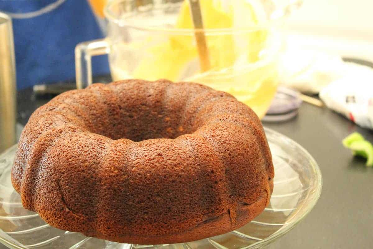 Pumpkin Bundt Cake on a cake plate