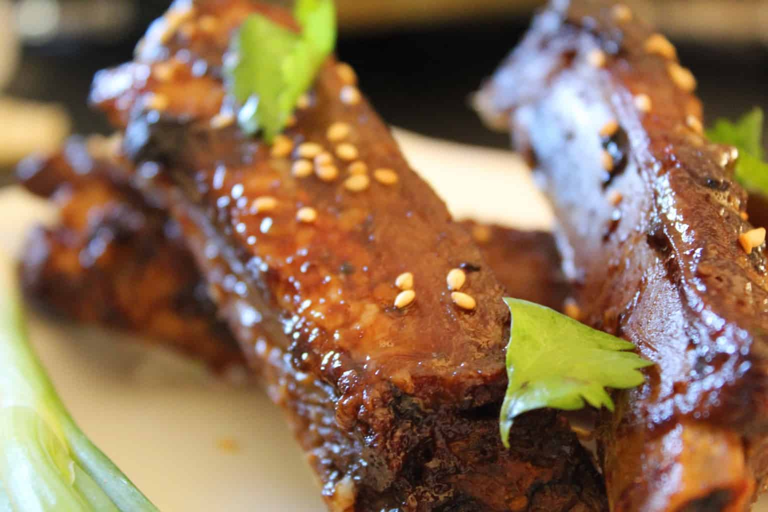 Chinese Sticky Ribs on plate.