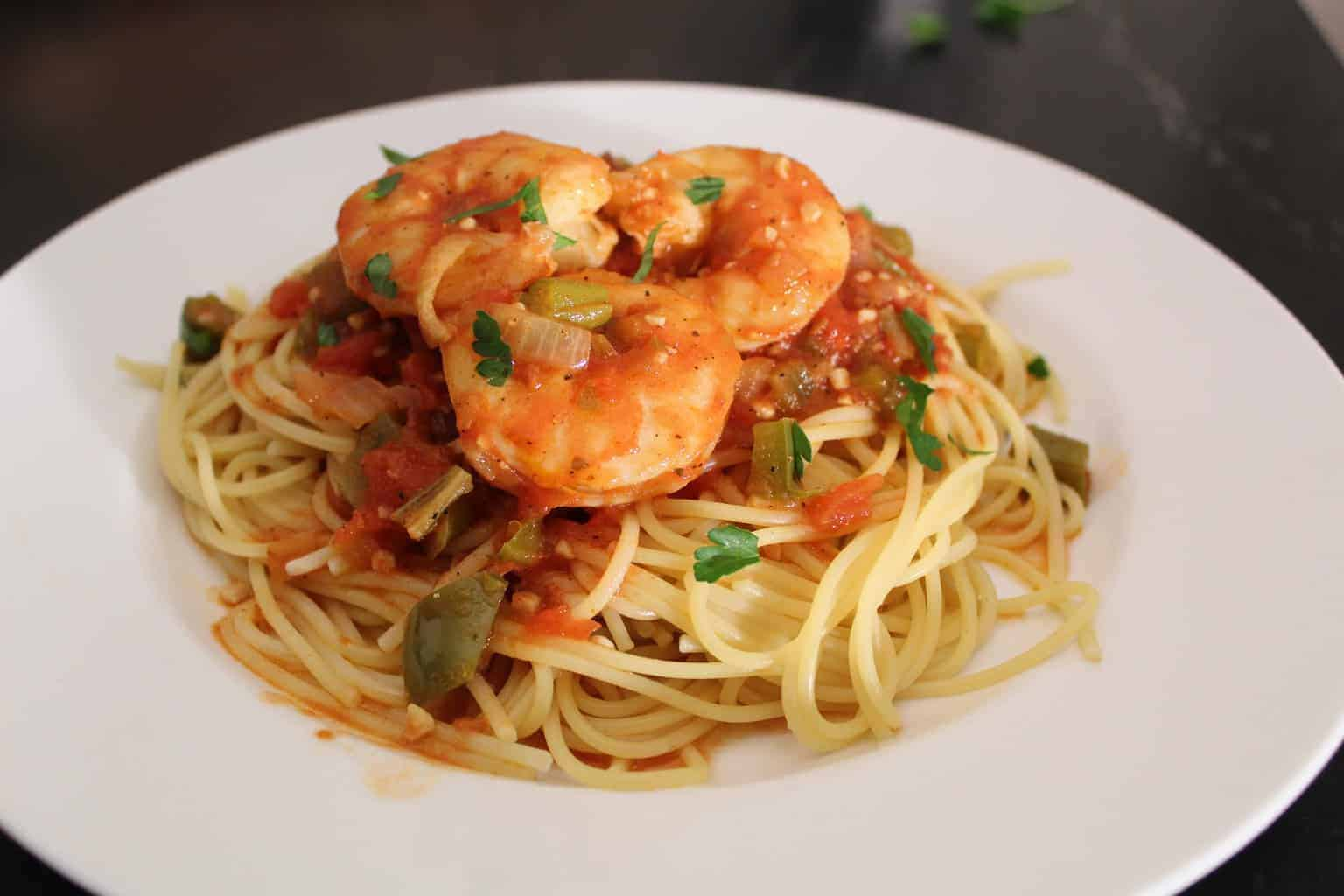 Creole Shrimp Pasta on a white plate