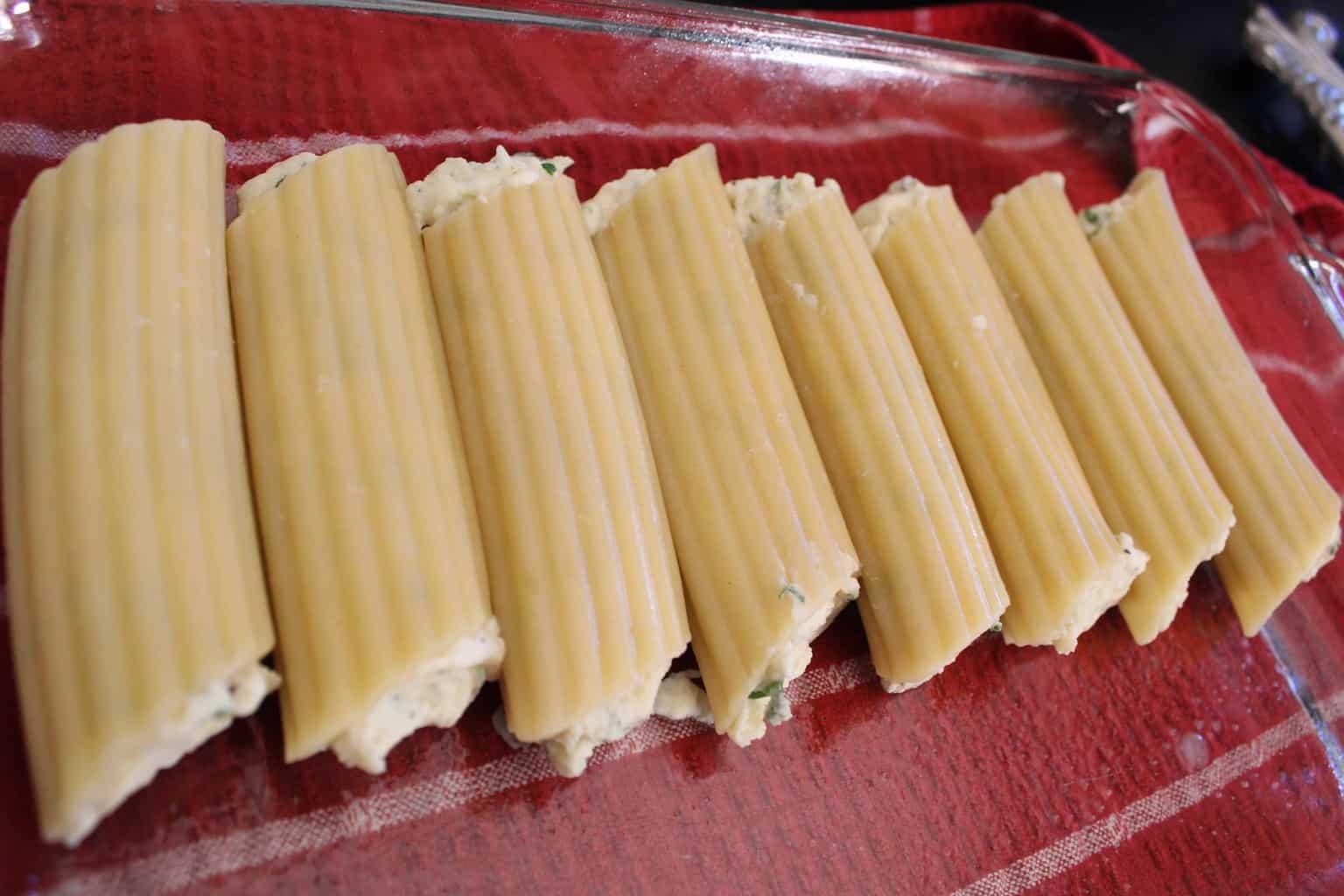 Stuffed Manicotti Pasta Shells in baking dish