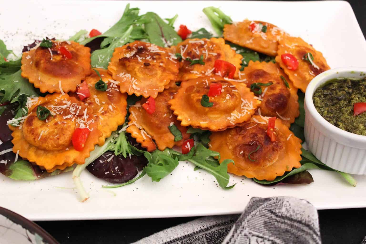 Easy Pan Fried Ravioli Appetizer on a Plate with Dipping Sauce