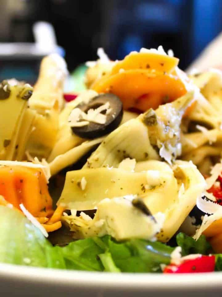 Tortellini Pasta Salad in a white bowl