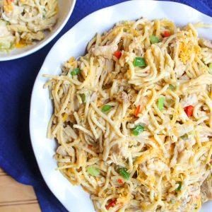 Chicken Spaghetti Casserole in white scalloped dish