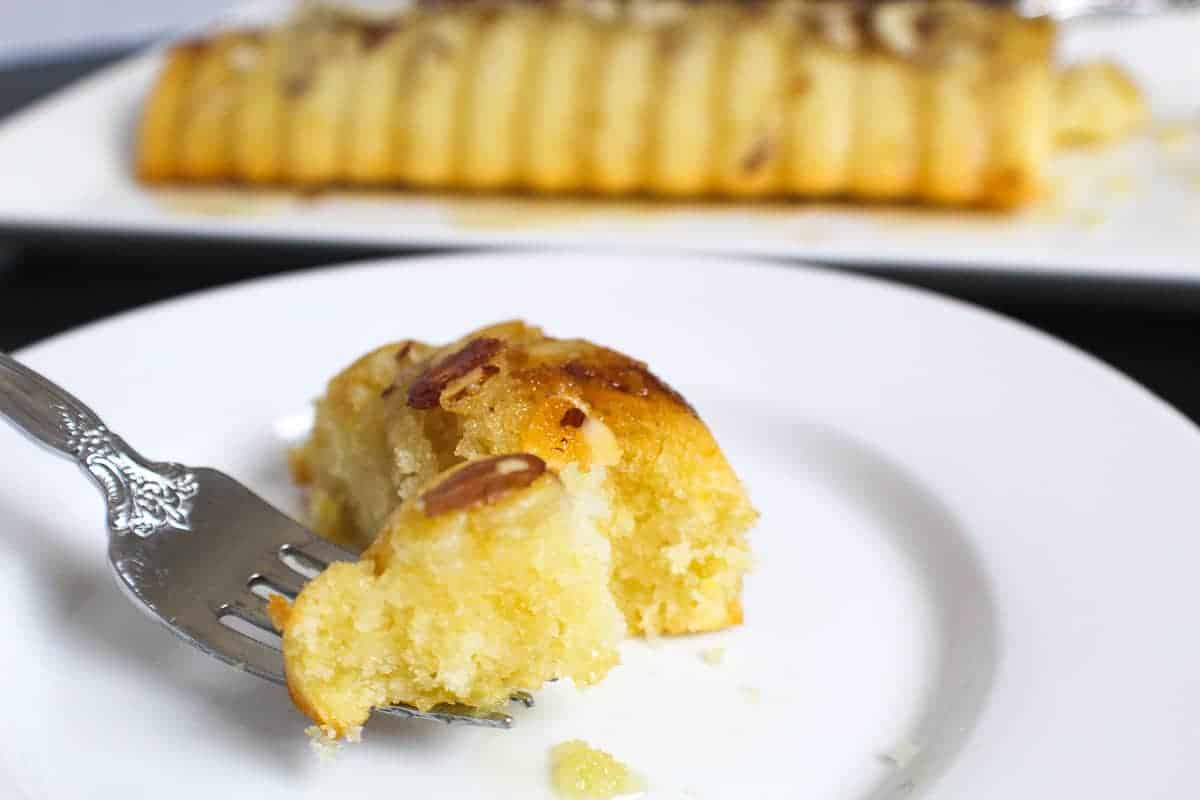 Fork with a bite of Scandinavian Almond Cake
