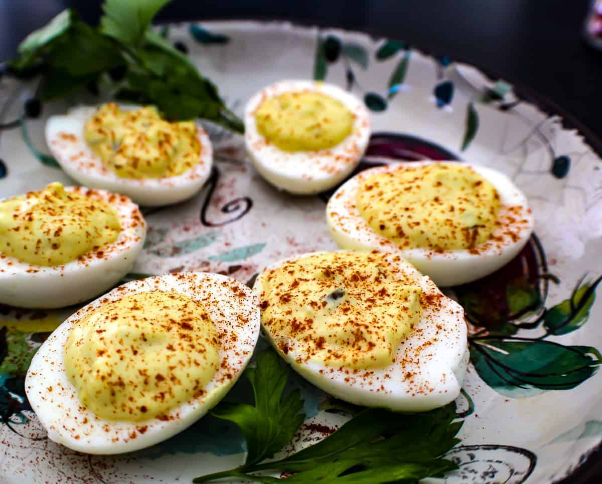 Deviled eggs on decorative plate