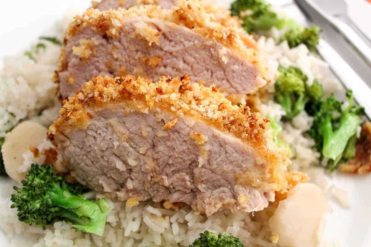 Close up of sliced panko crusted pork tenderloin