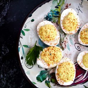 Deviled eggs on a plate in a circle