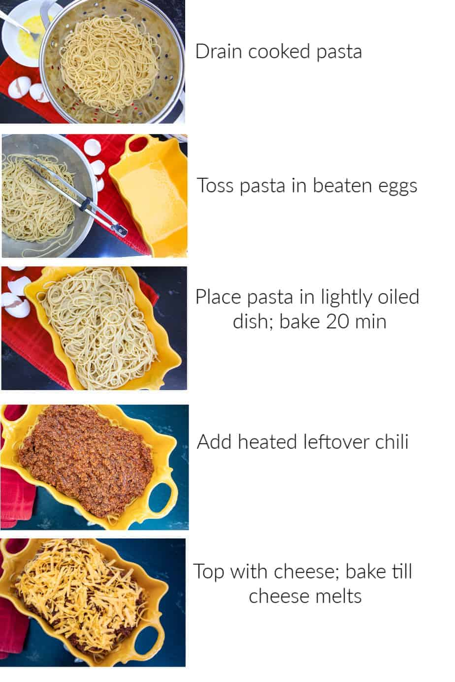 step by step instructions how to make chili spaghetti pie