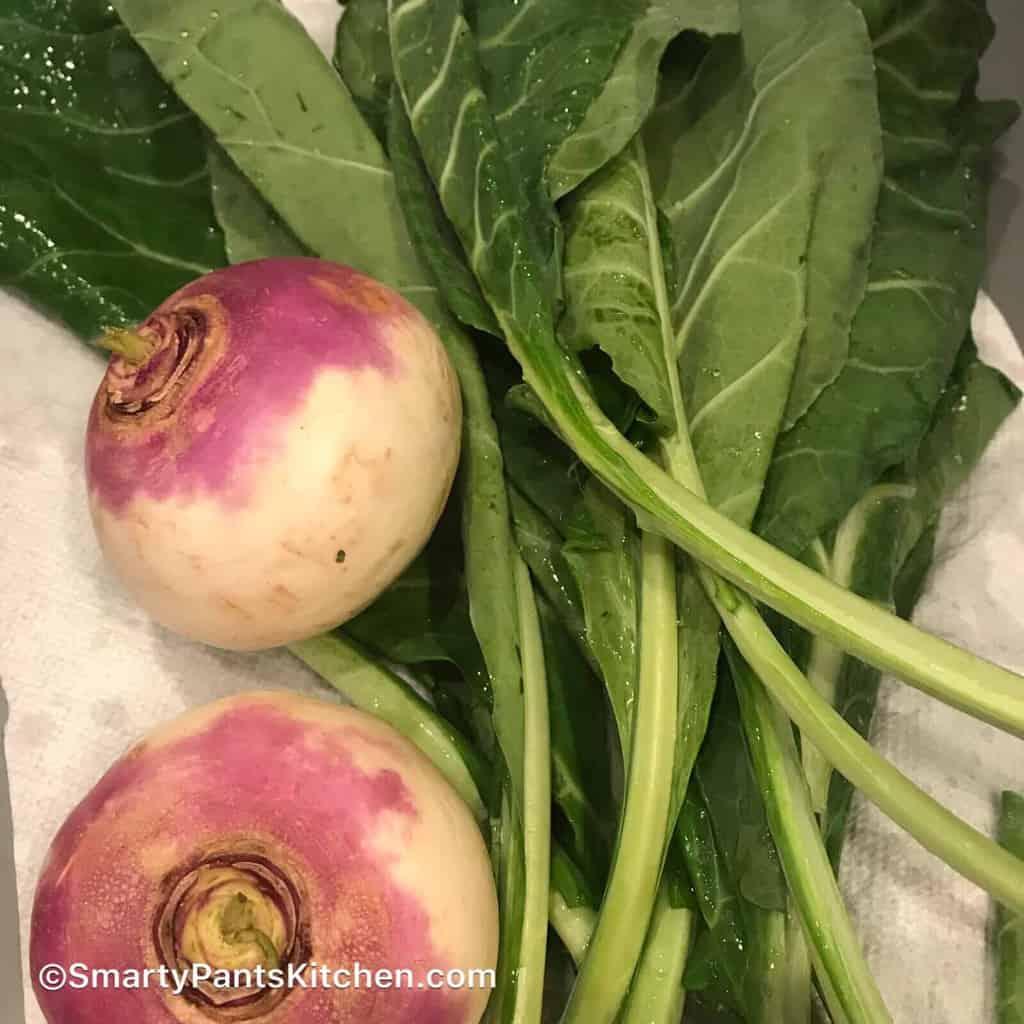 Turnip greens on counter.