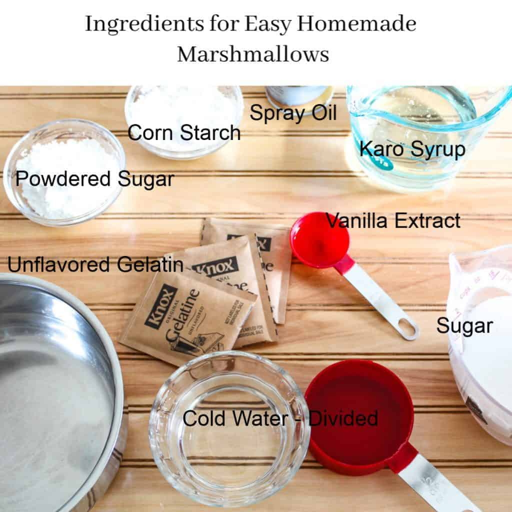 Overhead visual of ingredients for easy homemade marshmallows