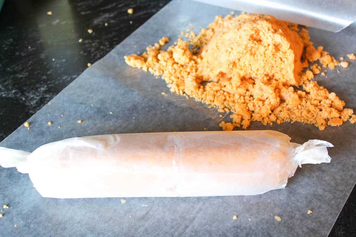 Wafer dough cylinder wrapped in wax paper