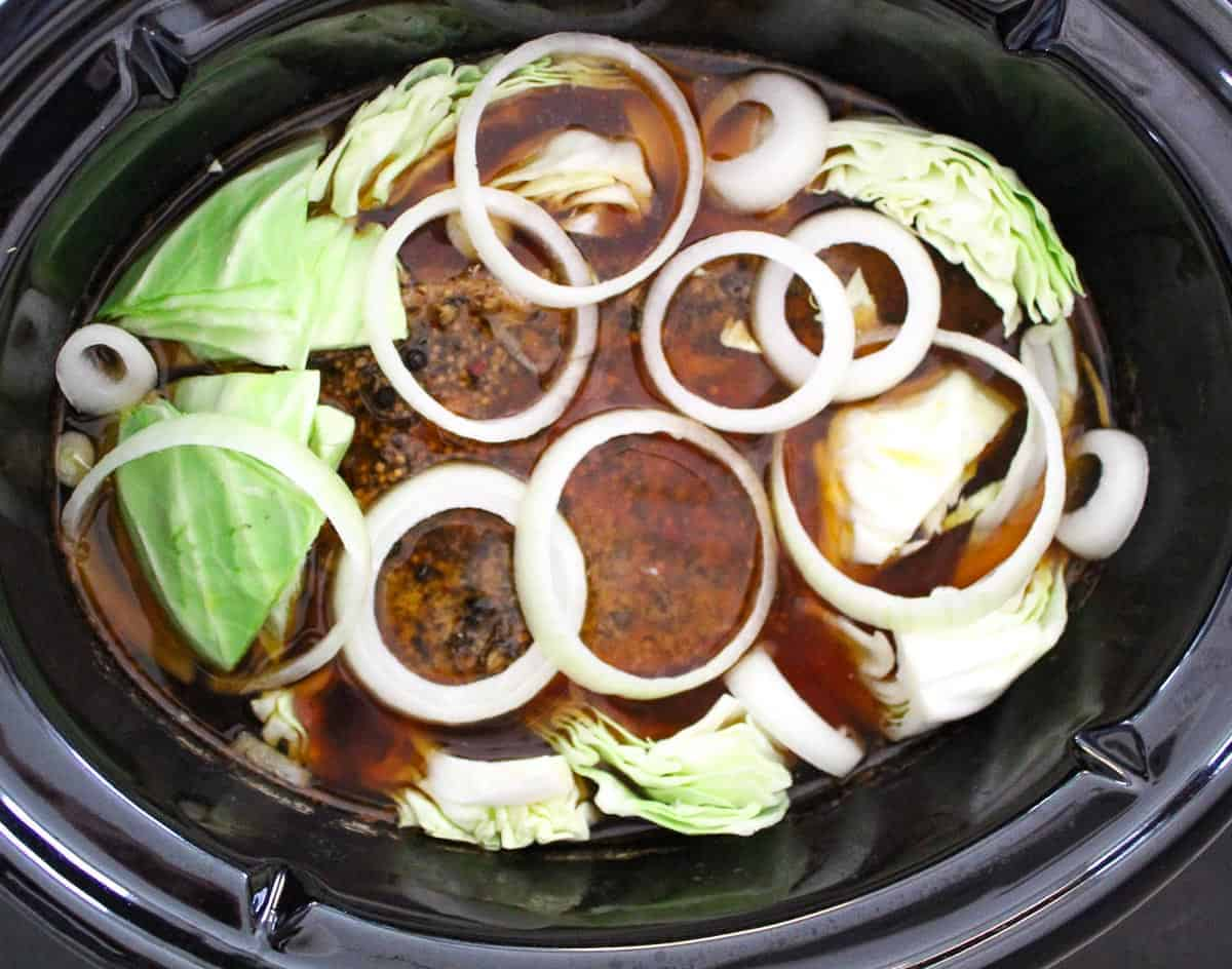 Corned Beef and Cabbage in Slow Cooker with beef broth and onions