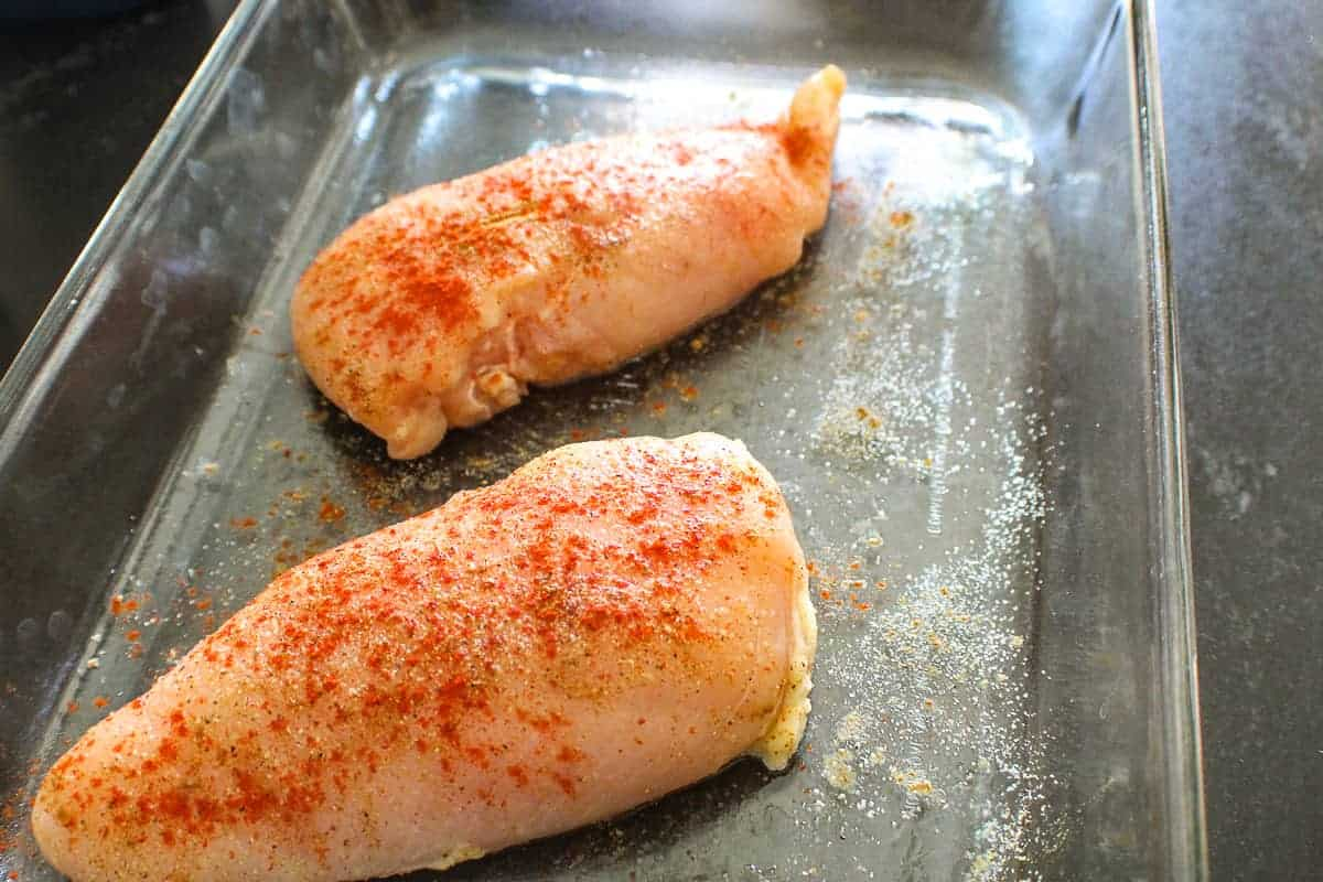 Seasoned chicken in baking dish