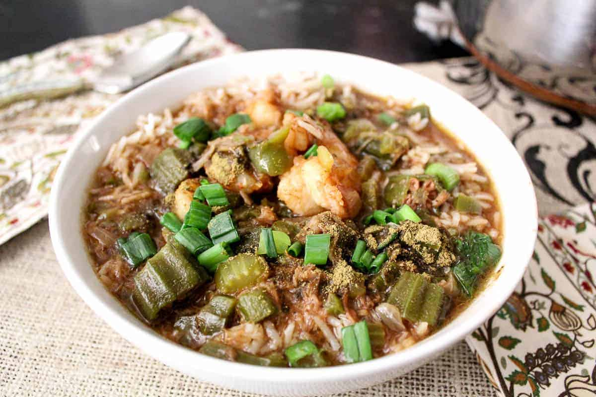 Seafood Gumbo is an authentic mardi gras recipe in a white bowl