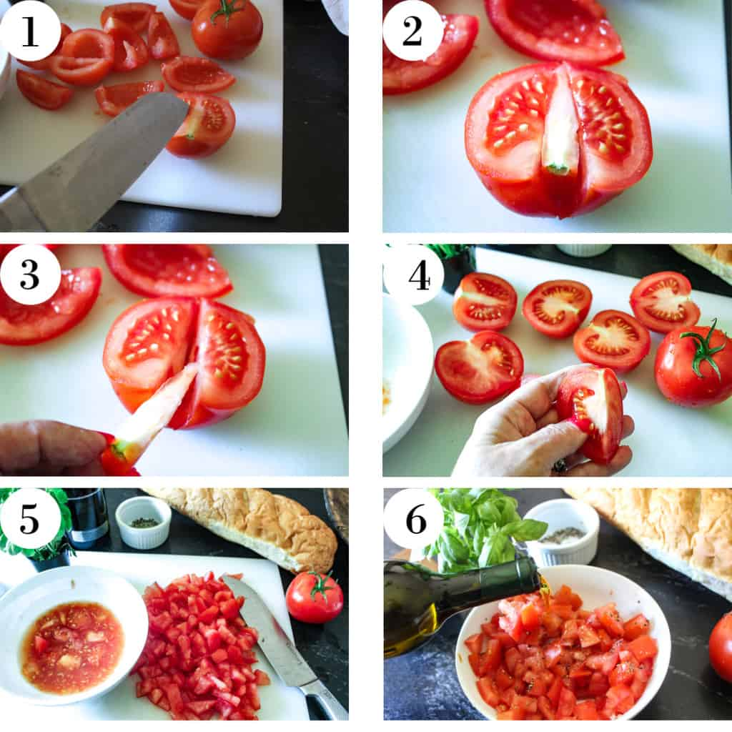 Numbered steps for preparing tomatoes 1-6
