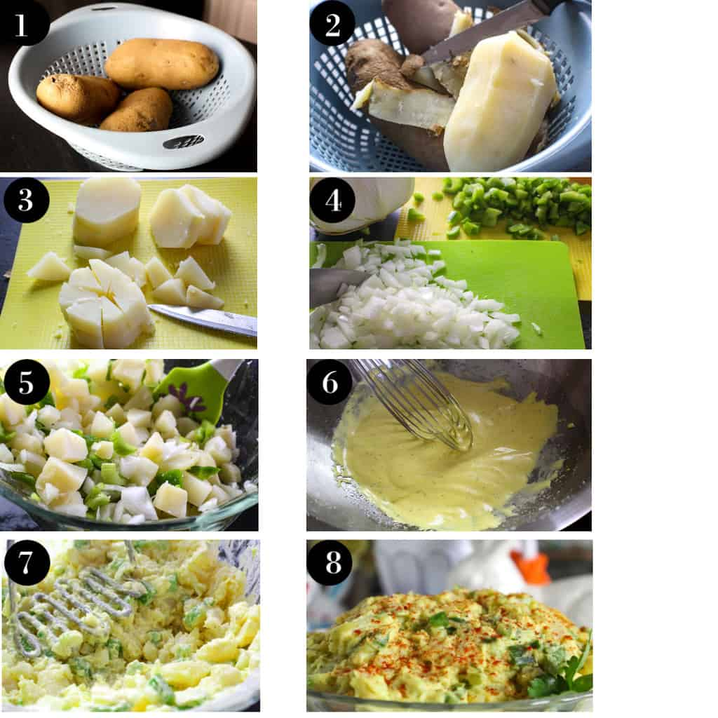 Eight visual steps for making potato salad