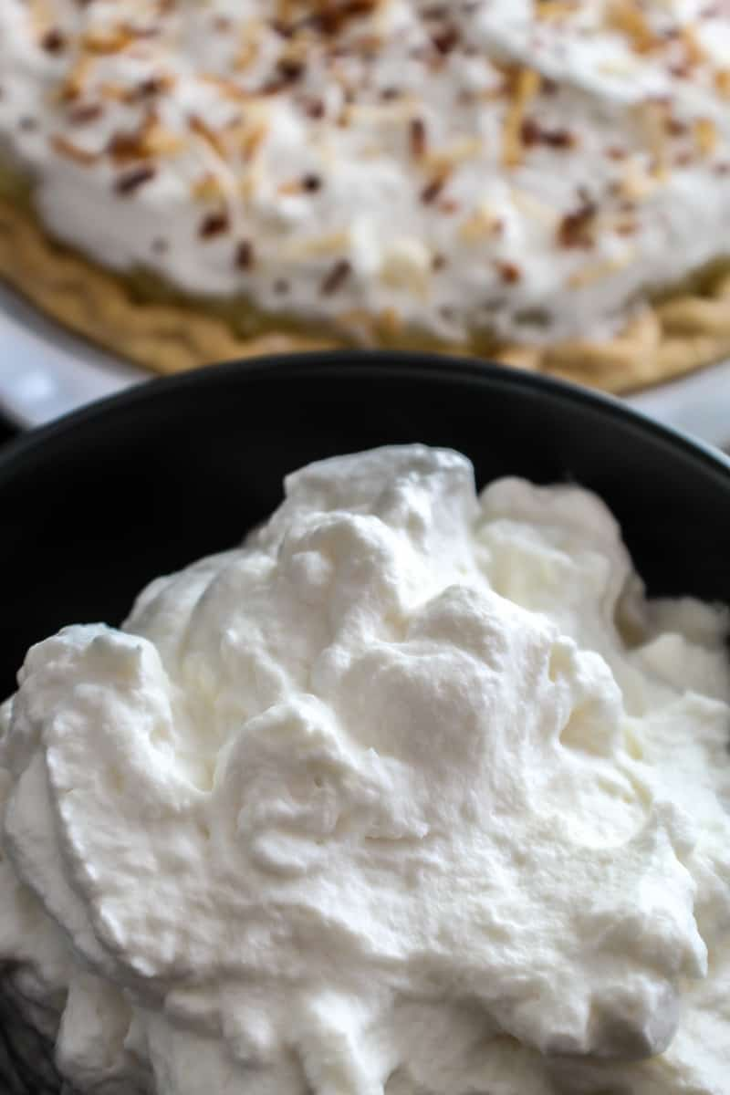 Homemade Whipped Cream in a black bowl