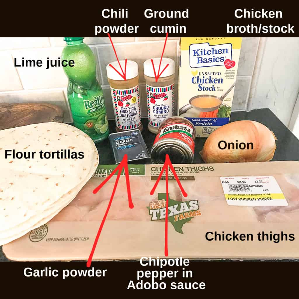 Visual ingredients for chicken carnitas