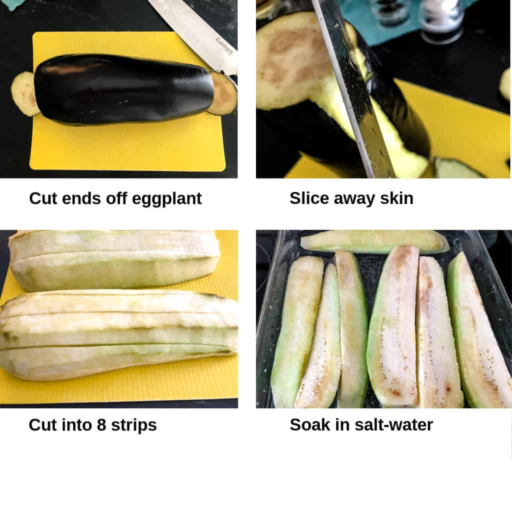 Visual instructions on how to peel eggplant