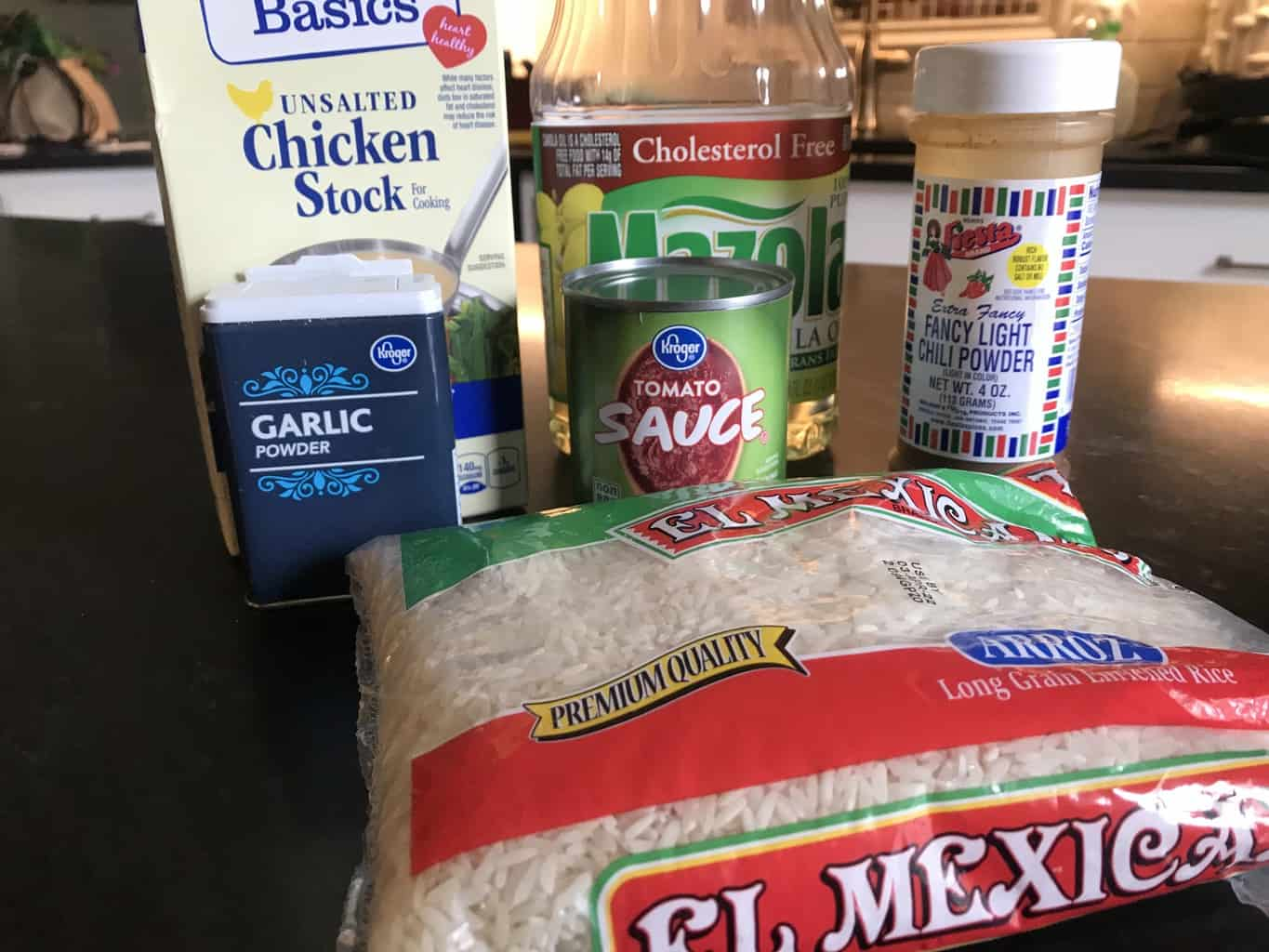 Visual ingredients for easy mexican rice