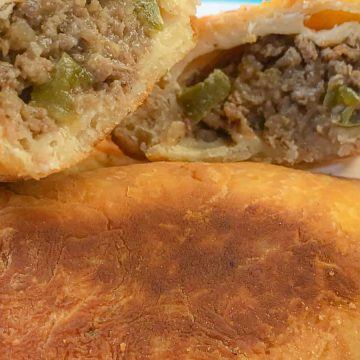 Natchitoches Meat Pie cut in half