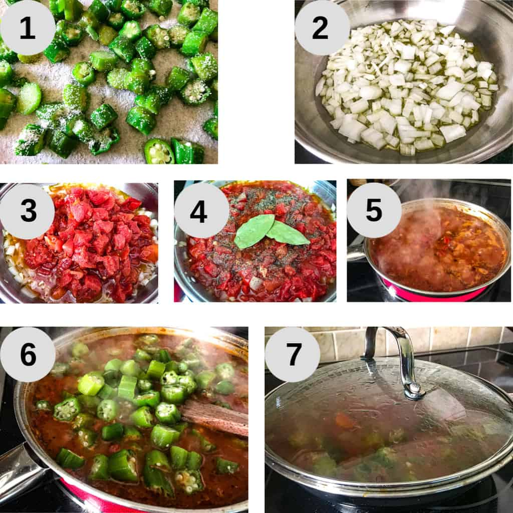 7 steps for preparing okra and tomatoes