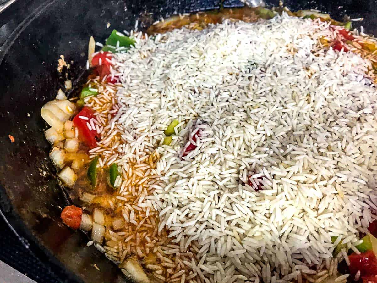 Basmati rice and veggies in skillet