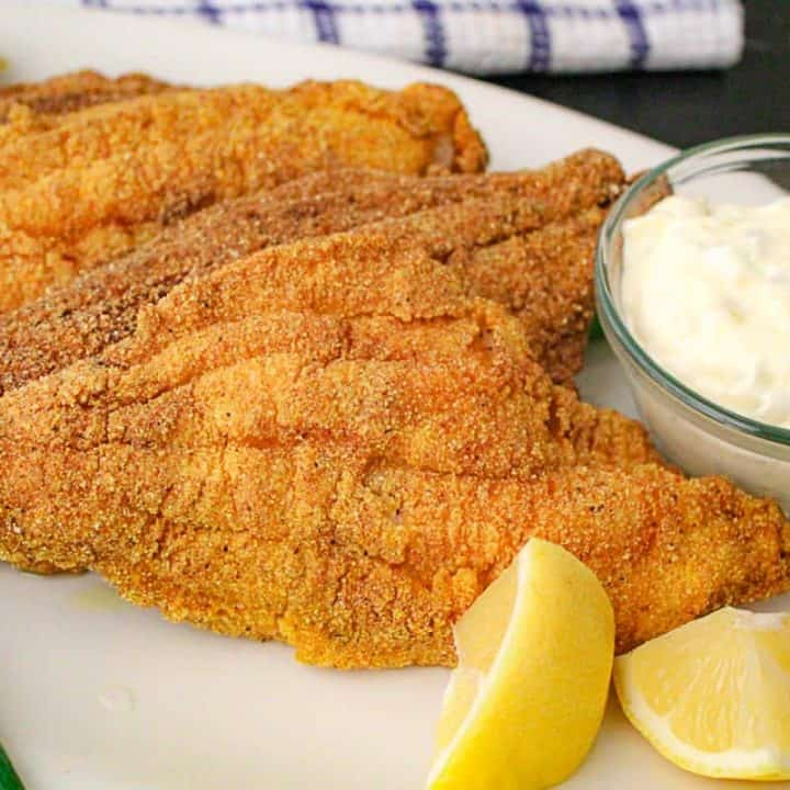 Fried catfish filets with tartar sauce