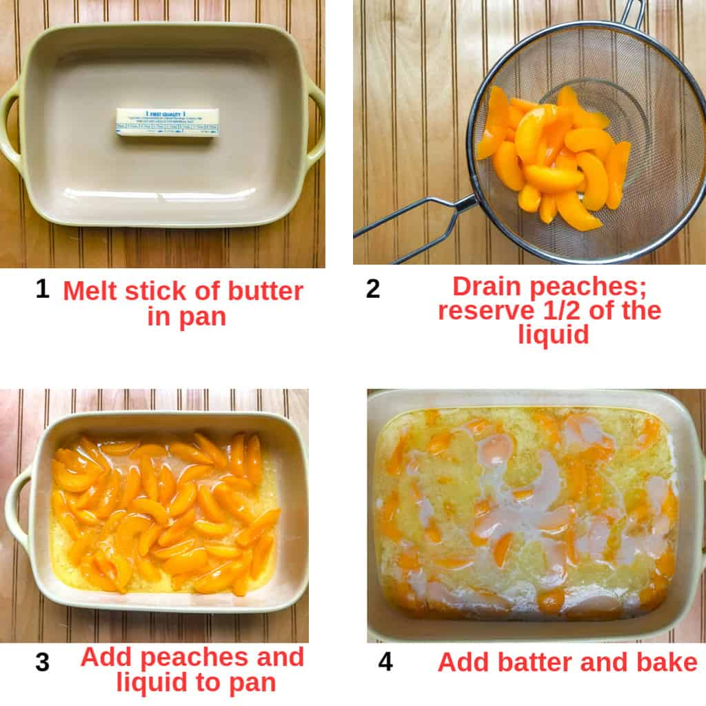 Four process shots of how to make peach cobbler