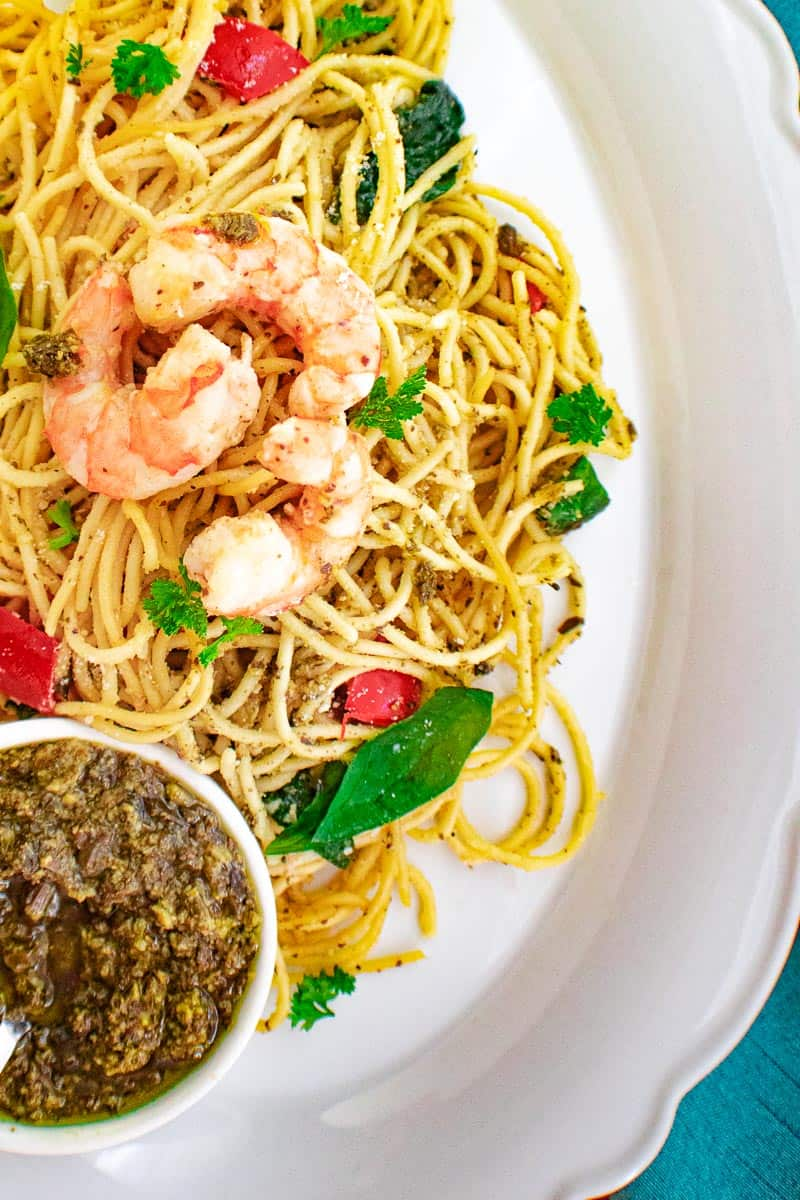 shrimp pasta with a side of pesto
