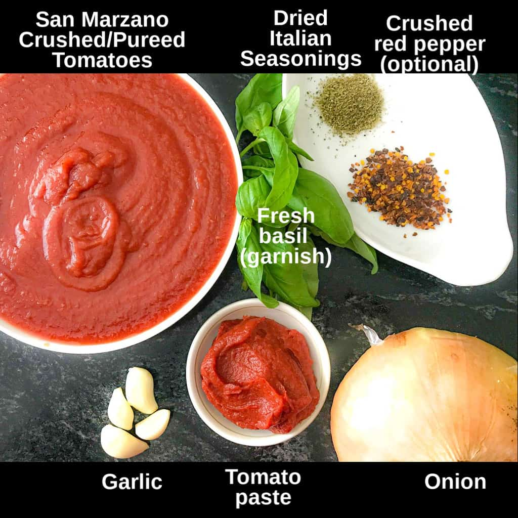 ingredients for San Marzano sauce labeled