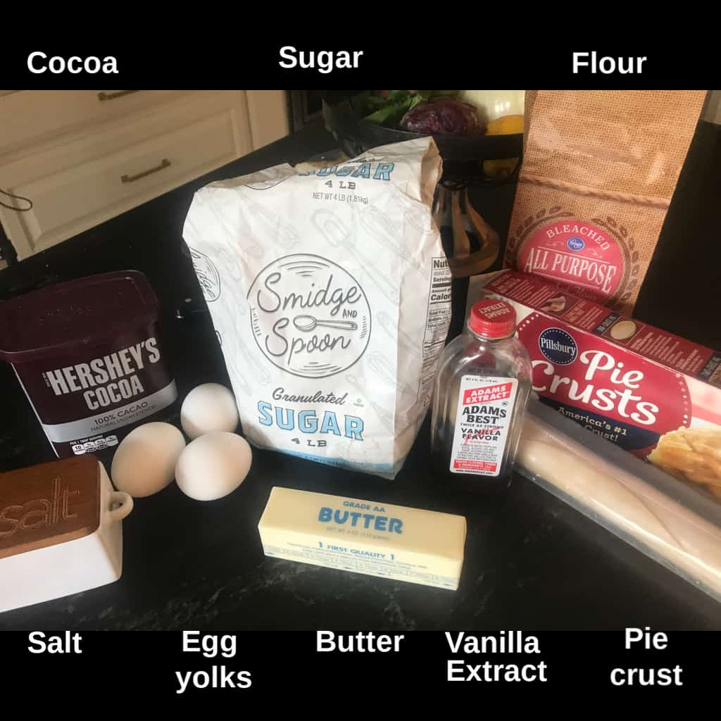 Chocolate pie ingredients on countertop labeled