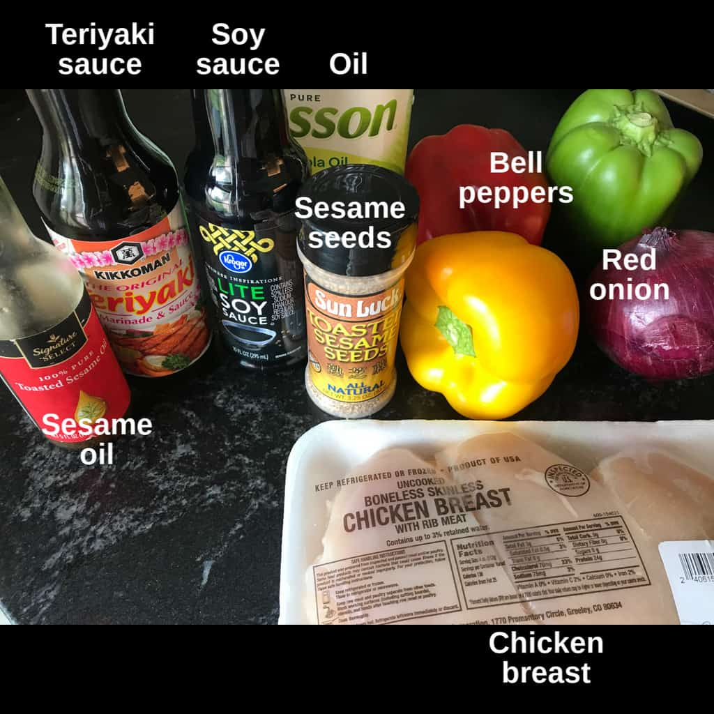 Ingredients on counter top with labels