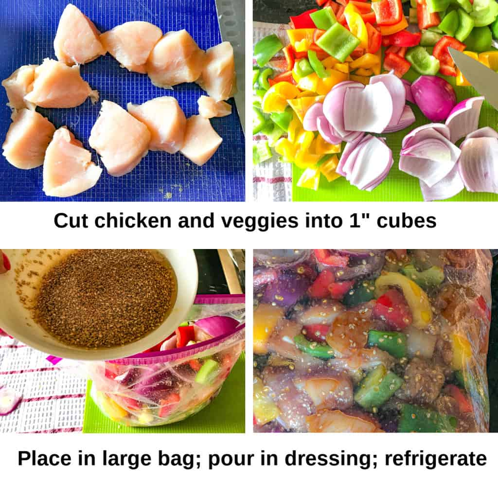 Step by step instructions how to prepare the chicken and veggies