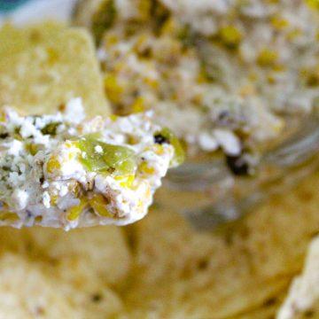 Roasted Corn dip on tortilla chip