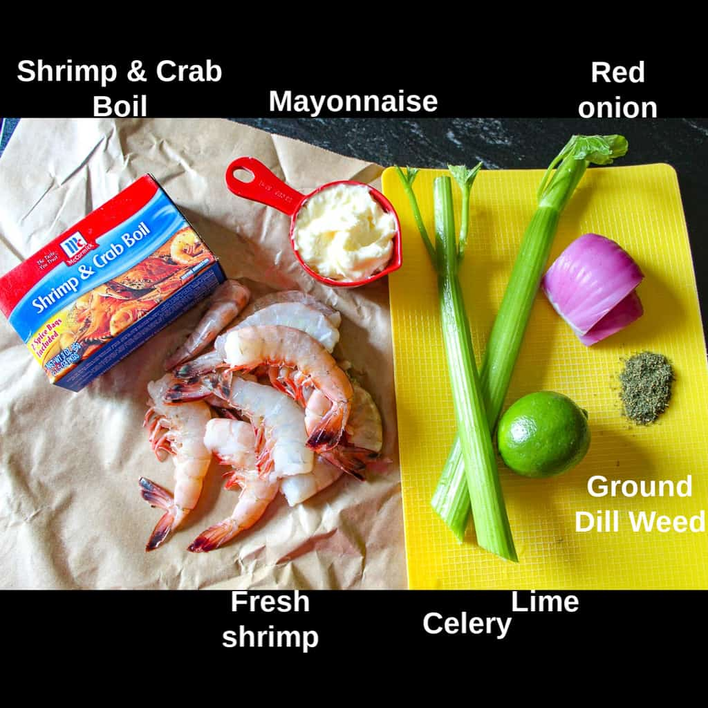 Shrimp Salad ingredients labeled on countertop