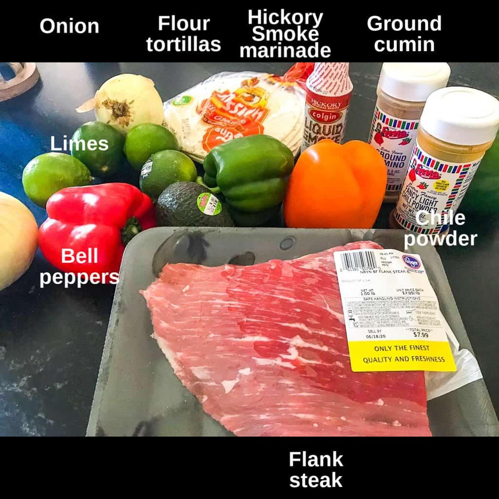 Tex Mex Fajita ingredients labeled