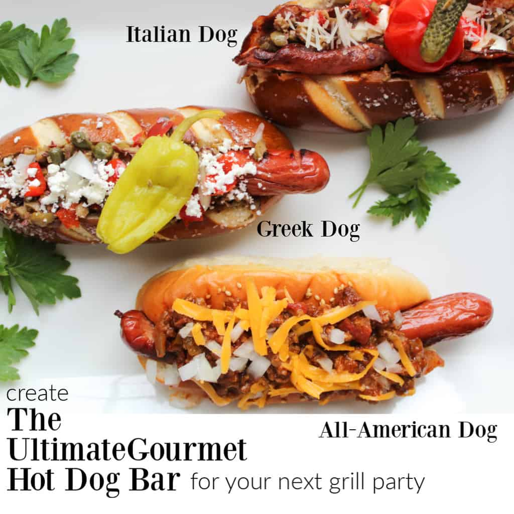 Three garnished hot dogs on white table labeled