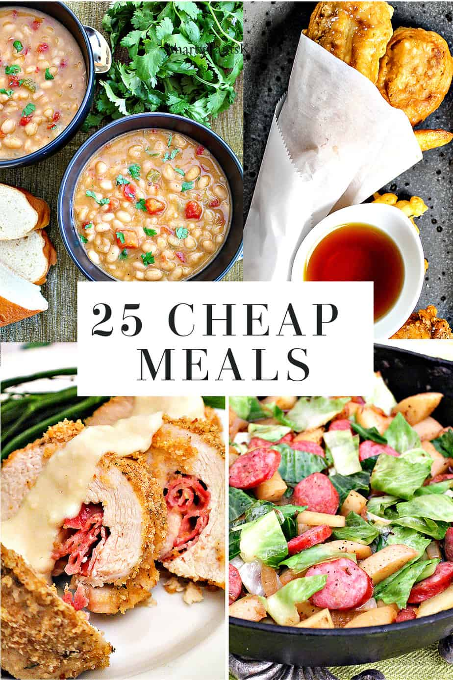 Collage of images for 25 cheap meals