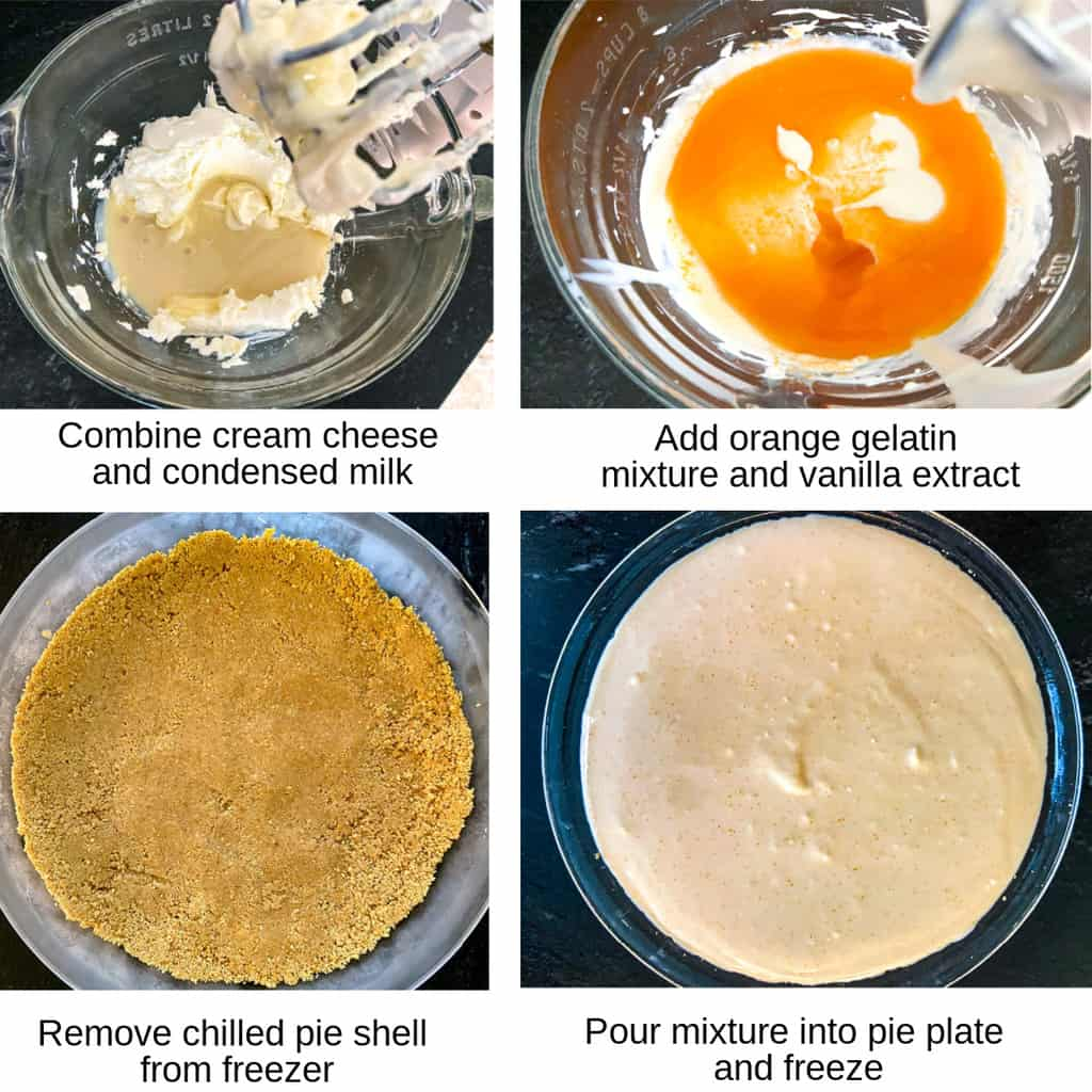 Four process shots of how to make creamsicle icebox pie