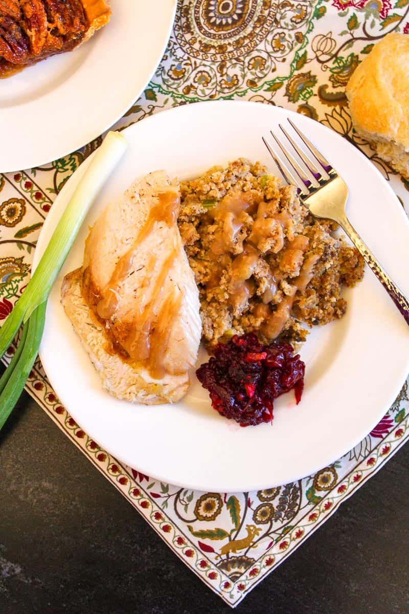 Turkey, dressing and cranberry sauce on white plate