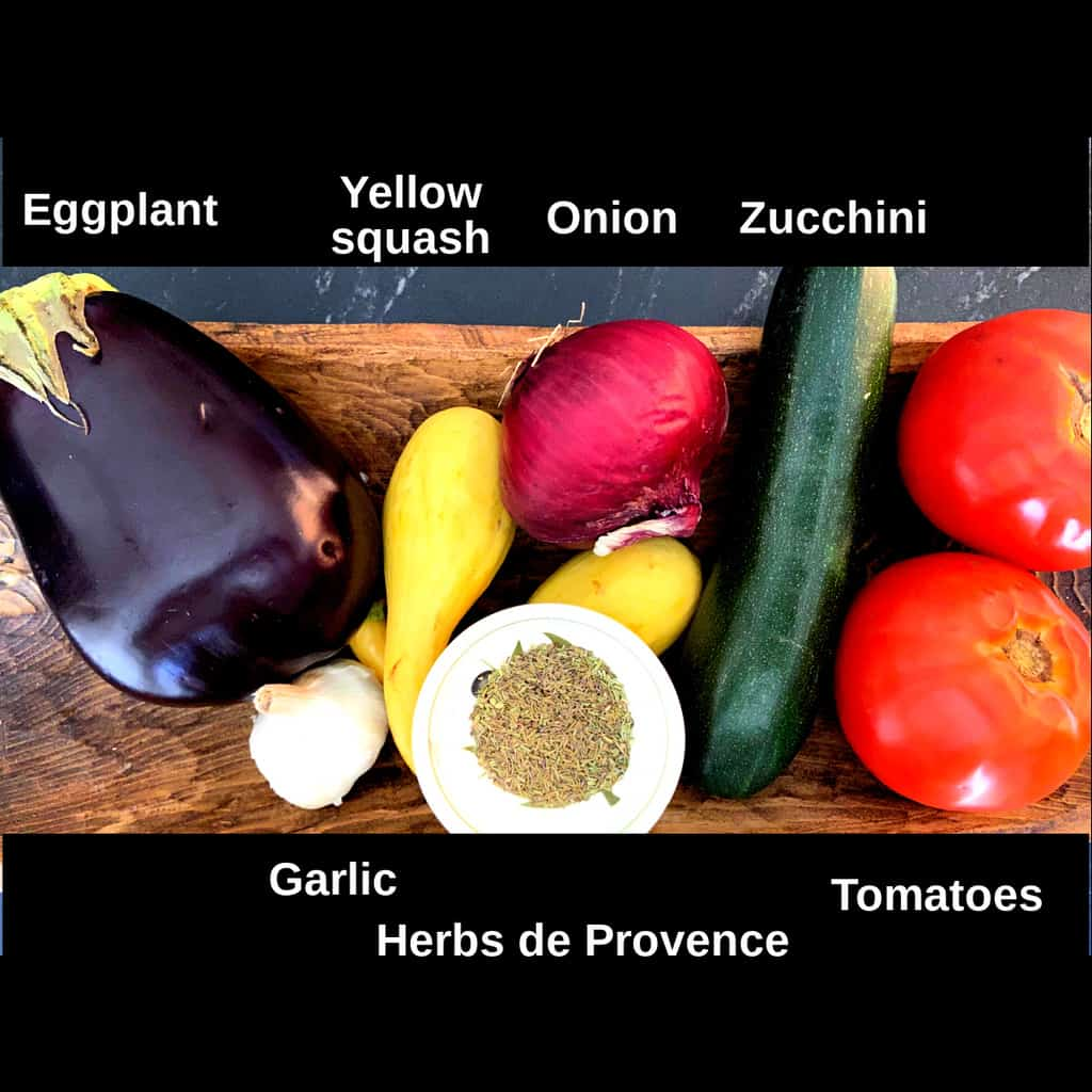 Ratatouille ingredients labeled