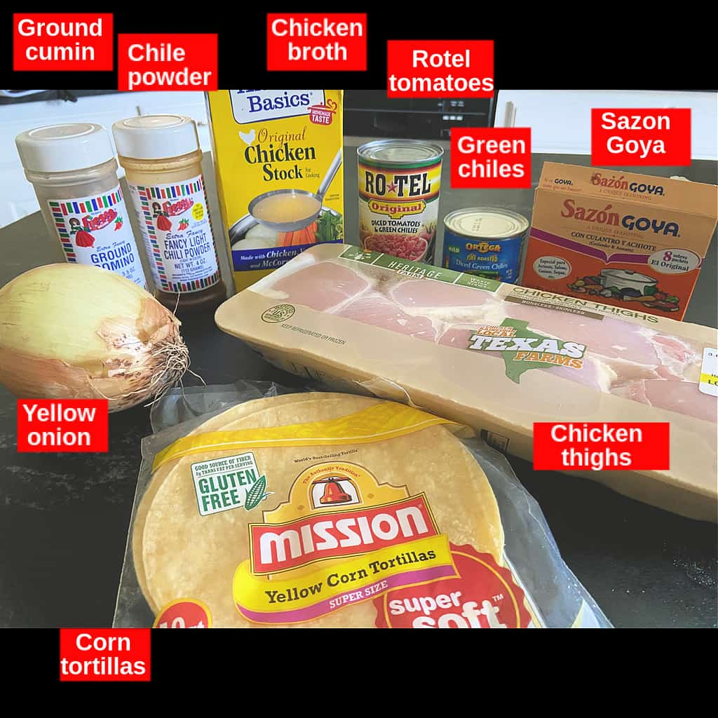 Labeled ingredients for chicken tortilla soup