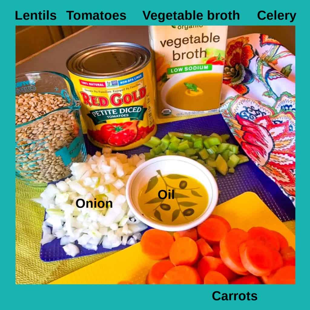 Labeled ingredients for lentil soup